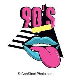 90s, lingua, bocca, fuori