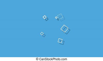 90s, retro, résumé, carrés, prompt, géométrique, style, bleu, mouvement, fond