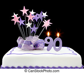 90th Cake - Fancy cake with number 90 candles. Decorated...