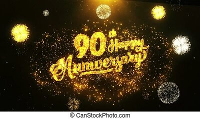 90th Happy Anniversary Text Greeting, Wishes, Celebration, invitation Background