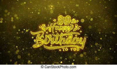 90th Happy Birthday Wishes Greetings card, Invitation, Celebration Firework