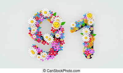 """91."""", floral, animation, """"numerical, chiffre"""
