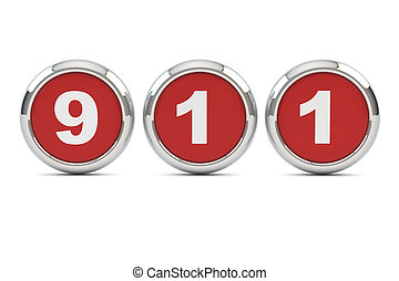 911 button - 911 sign button on white background