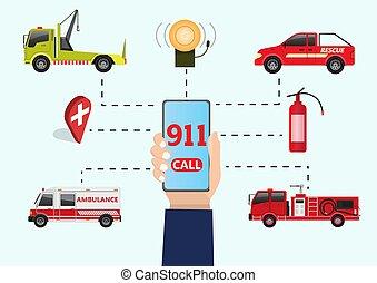 911, concept., urgence, urgent, call.
