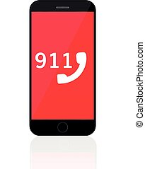 911 Emergency Call Number Mobile phone call police concept