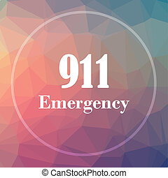 911 Emergency icon. 911 Emergency website button on low poly...