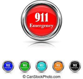 911 Emergency icon - six colours set