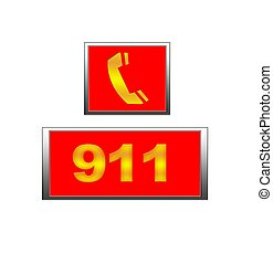 911 emergency. - Illustration with sign 911 phone emergency...