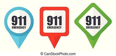 911, marcatori, colorito, emergenza, sfondo blu, edit., isolato, numero, set, icons., bianco, vettore, posizione, puntatori, verde, facile, rosso
