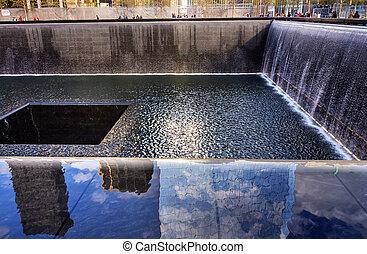 911, minnesmärke, slå samman, fontän, vattenfall, new york,...