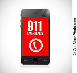 911, nødsituation, hidkalde, telefoner. ikon, illustration