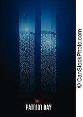 9/11, nyc., centre, tours, commercer, jumeau, vecteur, mondiale, illustration.