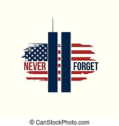 9/11 Patriot Day card with Twin Towers on american flag. USA Patriot Day banner. September 11, 2001. Never forget. World Trade Center. Vector design template for Patriot Day.