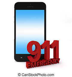 911 Phone - 3d rendering of an mobile phone with 911 ...