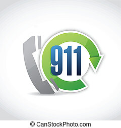 911 phone cycle illustration design over a white background
