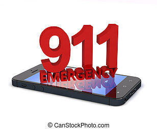 911 Phone - 3d rendering of an mobile phone with 911...