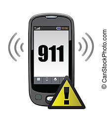 911, rop, nödläge, illustration