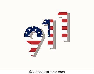 9/11, szeptember, 11, patrióta, 2001., nap, vektor, ábra
