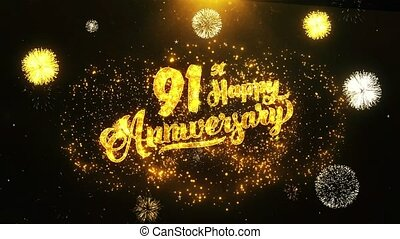 91st Happy Anniversary Text Greeting, Wishes, Celebration, invitation Background