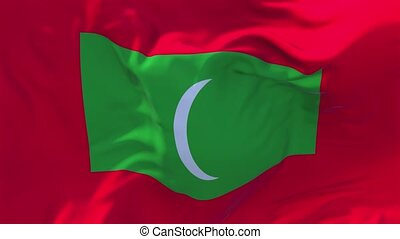 92. Maldives Flag Waving in Wind Continuous Seamless Loop...