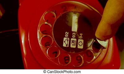 92, yugoslavia., police, landline, appeler, rotatif, nombre, 70s, vendange, téléphone