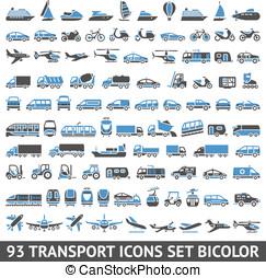 93, 수송, 아이콘, 세트, 파랑, 와..., 회색