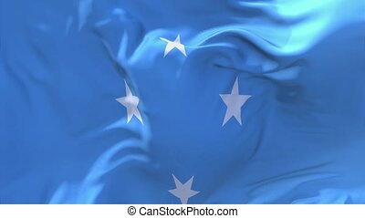 94. Micronesia Federated States Flag Waving Seamless Loop Background.