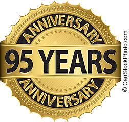 95, anni, anniversario, dorato, etichetta