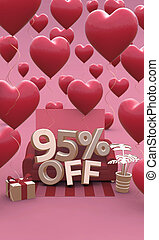 95 ninety five percent off - Valentines Day Sale 3D illustration. Vertical banner with copy space.