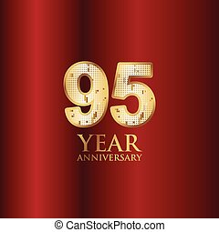 95 Year Anniversary Gold With Red Background Vector Template Design Illustration