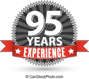 95 years experience retro label with red ribbon, vector illustration