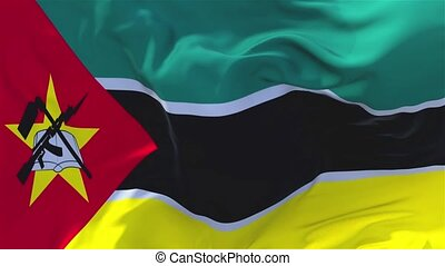 97. Mozambique Flag Waving in Wind Continuous Seamless Loop...