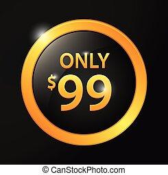 99$, μόνο , σήμα , χρυσαφένιος