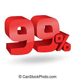 99, percento, illustrazione