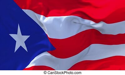 99. Puerto Rico Flag Waving in Wind Slow Motion Animation . 4K Realistic Fabric Texture Flag Smooth Blowing on a windy day Continuous Seamless Loop Background.