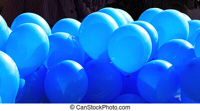 998334RF - a lot of blue inflated ballons