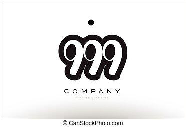999 number logo icon template design - 999 number black...