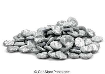 zinc - 99.999% fine zinc pellets isolated on white...