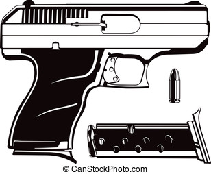 9mm Hand Gun - This is a vector graphic of a 9mm handgun...