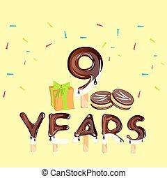 9º, presente aniversário, celebração