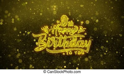 9th Happy Birthday Wishes Greetings card, Invitation, Celebration Firework