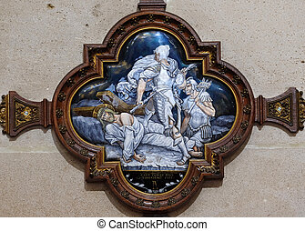 9th Stations of the Cross, Jesus falls the third time, St Francis Xavier's Church in Paris, France