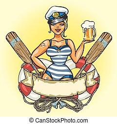 _ klämma fast upp, sjöman, flicka, med, kallt öl