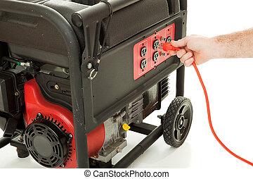 _ plugga in, till, driva