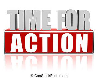 ação, 3d, letras, bloco, tempo