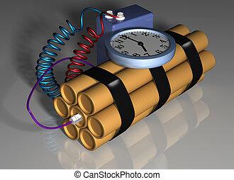 ação, bomba, preparado, tempo