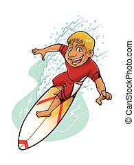 ação, caricatura, surfista