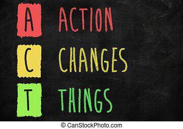 ação, coisas, mudanças