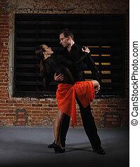 ação, dançarinos, tango