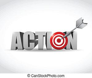ação, desenho, alvo, ilustração